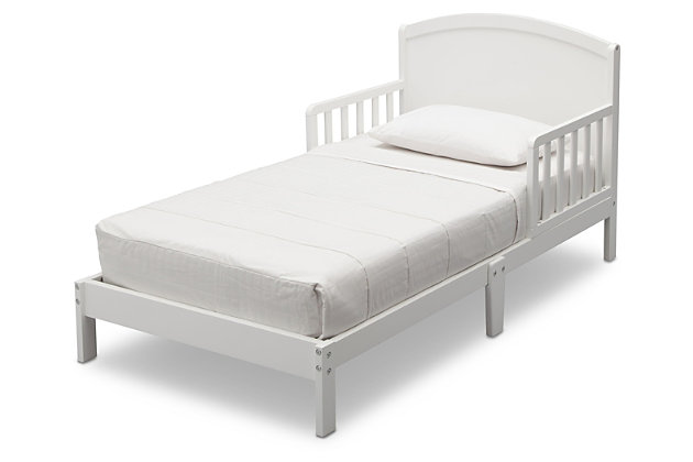 Delta Children Abby Wood Toddler Bed, White, large
