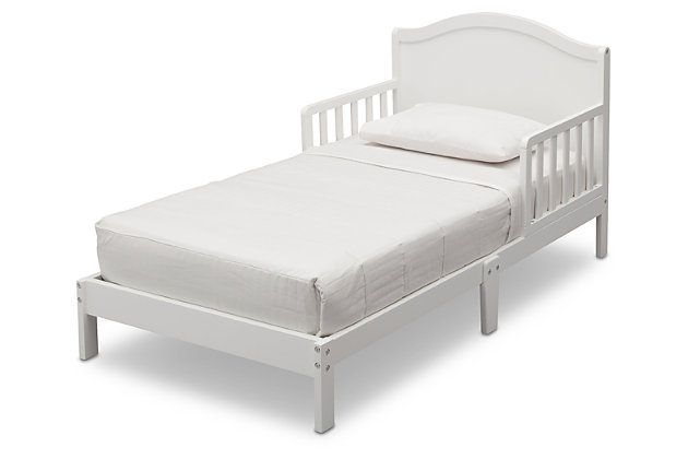 Delta Children Baker Wood Toddler Bed, White, large