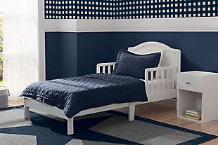 Delta Children Baker Wood Toddler Bed, White, rollover