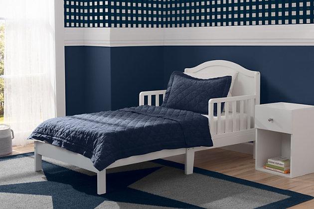 Delta Children Baker Wood Toddler Bed, White, large