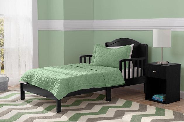 Delta Children Baker Wood Toddler Bed, Black, large