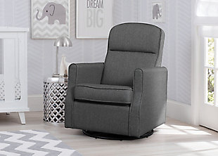 Delta Children Blair Slim Nursery Glider Swivel Rocker Chair, Gray, rollover