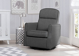 Delta Children Blair Slim Nursery Glider Swivel Rocker Chair, Gray, rollover
