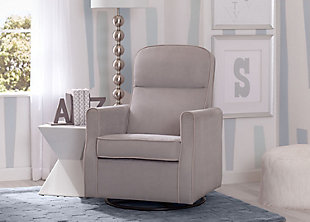 Delta Children Clair Slim Nursery Glider Swivel Rocker Chair, Dove Gray, rollover