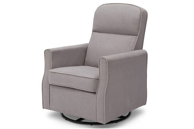 Delta Children Clair Slim Nursery Glider Swivel Rocker Chair, Dove Gray, large