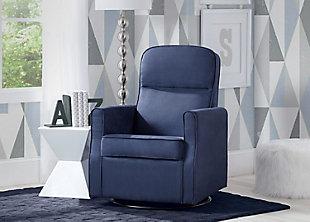 Delta Children Clair Slim Nursery Glider Swivel Rocker Chair, Navy, rollover