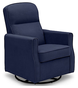 Delta Children Clair Slim Nursery Glider Swivel Rocker Chair, Navy, large