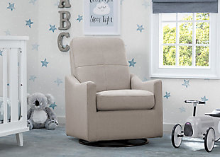 Delta Children Kenwood Slim Nursery Glider Swivel Rocker Chair, Taupe, large