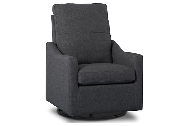 Delta Children Kenwood Slim Nursery Glider Swivel Rocker Chair, Charcoal, large