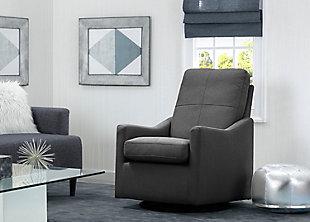 Delta Children Kenwood Slim Nursery Glider Swivel Rocker Chair, Charcoal, large