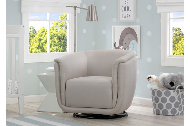 Delta Children Skylar Nursery Glider Swivel Rocker Tub Chair, Flax, large
