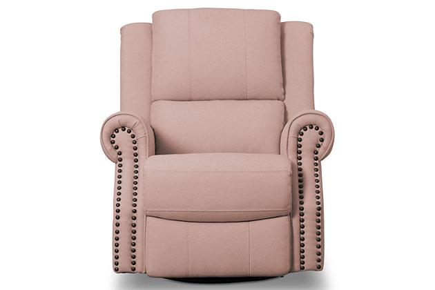 Delta Children Dexter Nursery Recliner Swivel Glider Chair, Blush Pink, large