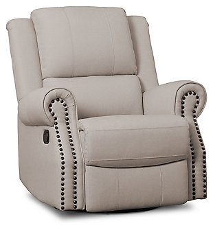 Delta Children Dexter Nursery Recliner Swivel Glider Chair, Flax, large