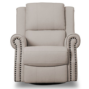 Delta Children Dexter Nursery Recliner Swivel Glider Chair, Flax, large