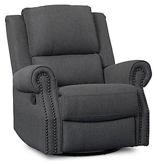 Delta Children Dexter Nursery Recliner Swivel Glider Chair, Charcoal, large
