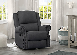 Delta Children Dexter Nursery Recliner Swivel Glider Chair, Charcoal, rollover