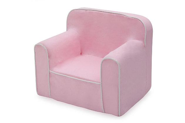 Delta Children Foam Snuggle Chair, Pink/White, large