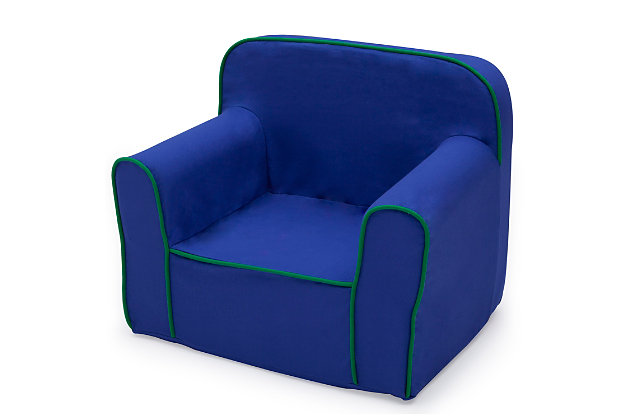 Delta Children Foam Snuggle Chair, Blue/Green, large