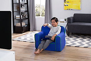 Delta Children Foam Snuggle Chair, Blue/Green, rollover