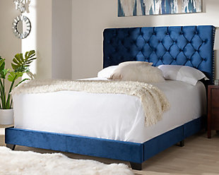 Velvet Queen Upholstered Bed, Navy, rollover