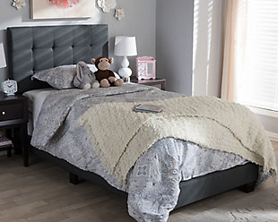 Brookfield Twin Upholstered Bed, Charcoal, rollover