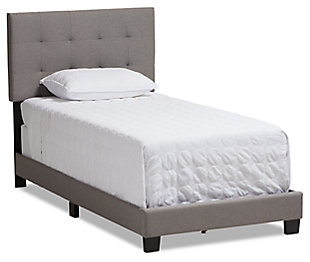 Brookfield Twin Upholstered Bed, Gray, large