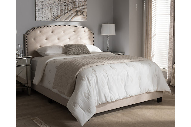 Button Tufted Full Upholstered Bed, , large