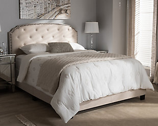 Button Tufted Queen Upholstered Bed, Beige, rollover