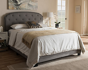 Button Tufted Queen Upholstered Bed, Gray, rollover