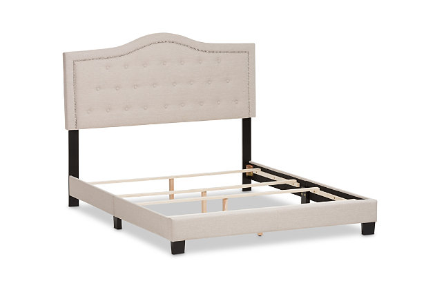 Emerson Queen Upholstered Bed, Beige, large