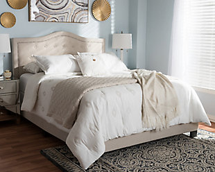 Emerson Queen Upholstered Bed, Beige, rollover