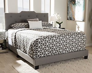 Upholstered Queen Upholstered Bed, Gray, rollover