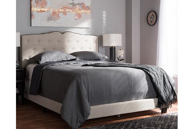Vivienne Queen Upholstered Bed, Beige, large