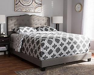 Vivienne Full Upholstered Bed, Gray, rollover