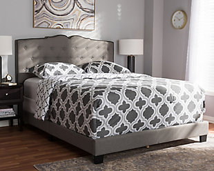 Vivienne Queen Upholstered Bed, Gray, rollover