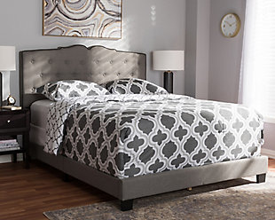Vivienne Queen Upholstered Bed, Gray, rollover