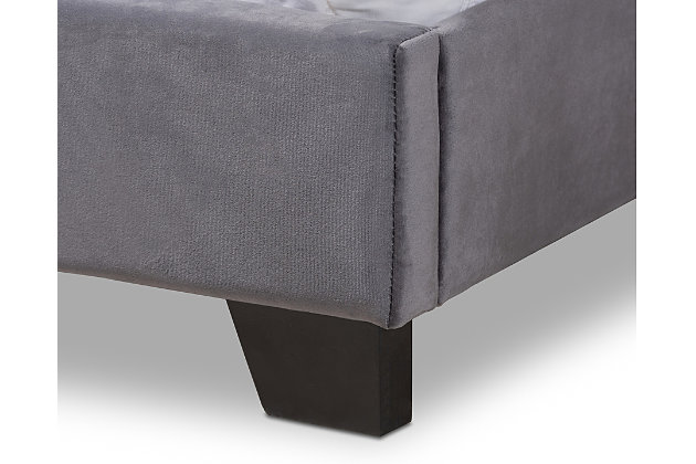 Velvet Full Upholstered Bed, , large