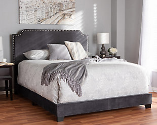 Velvet Queen Upholstered Bed, Dark Gray, rollover