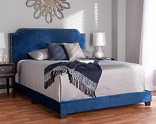 Velvet Full Upholstered Bed, , rollover