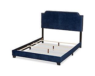 Velvet Queen Upholstered Bed, Navy, large