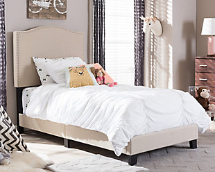 Linen Twin Upholstered Bed, Beige, rollover