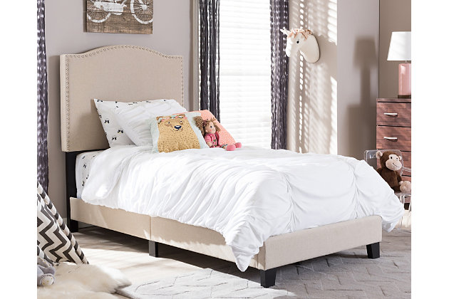 Linen Twin Upholstered Bed, Beige, large