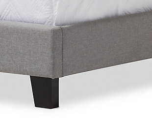 Linen Twin Upholstered Bed, Gray, large