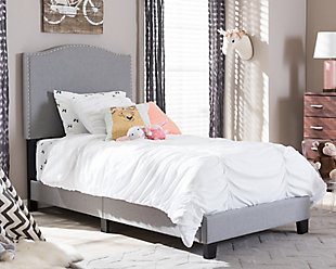 Linen Twin Upholstered Bed, Gray, rollover