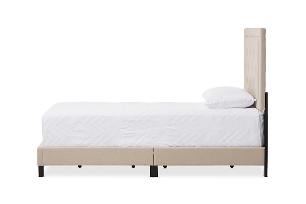 Linen Twin Upholstered Bed, , large