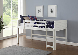 Kids Louvered Twin Low Loft Bed, , rollover