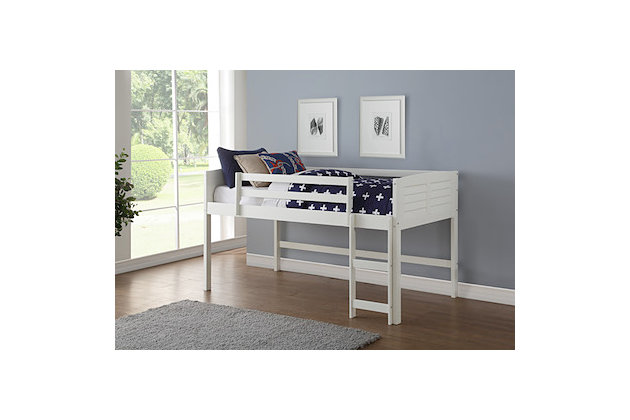 Kids Louvered Twin Low Loft Bed, , large