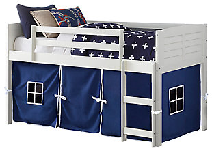 Kids Louvered Twin Low Loft Bed With Tent, Blue, large