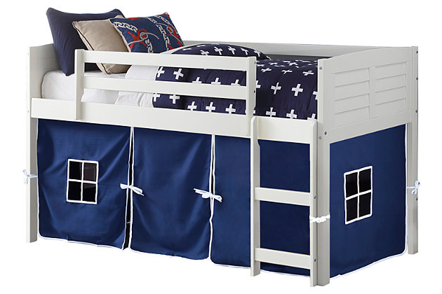 Kids Louvered Low Loft Bed With Tent, , large