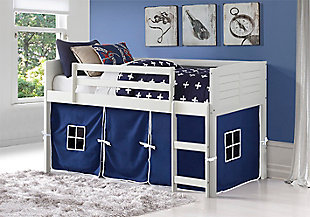 Kids Louvered Twin Low Loft Bed With Tent, Blue, rollover